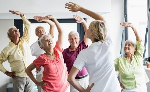Retired people exercising
