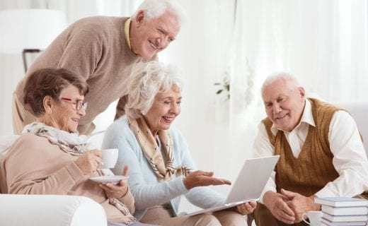 Retired people with a laptop