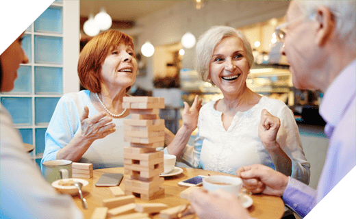 Senior residents playing a game
