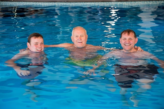 Resident and Contractors in the pool