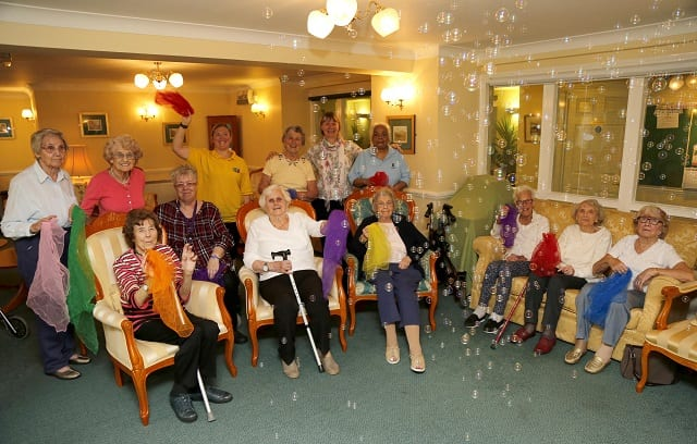 Residents enjoying Movers and Groovers class
