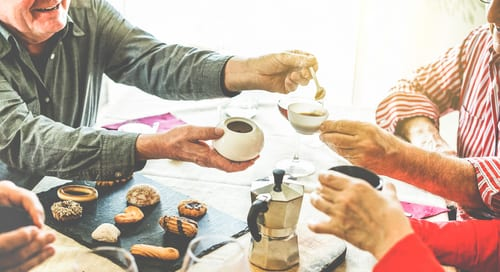 Retirees having an afternoon tea